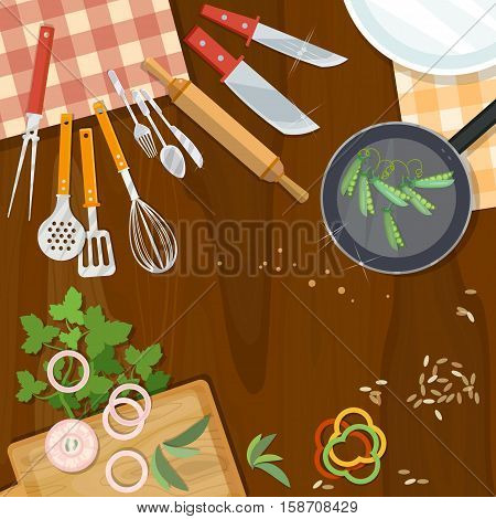 Creative cooking kitchenware top view table cook kitchenware utensils spices and vegetables worktop vector