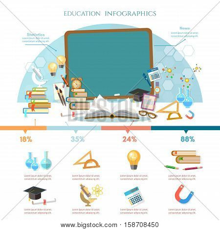 Education infographic open book of knowledge back to school different educational supplies infographic effective modern education template design.