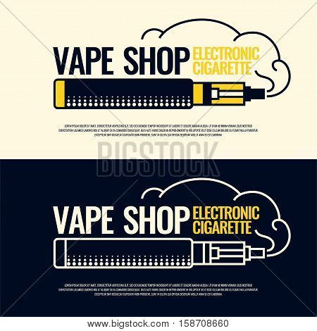 Drawing and poster of Electronic cigarette. Vaping store and a bar. Elements and icons vector illustration.