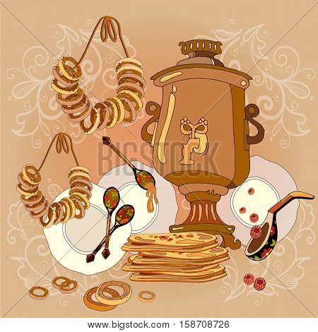 Russian cuisine samovar tea pancakes traditions and culture of Russia hand drawn vector. Welcome to Russia.