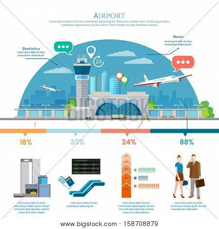 Airport infographic air travel element passengers aircraft runway terminal. Infographic airport with statistical data. International airport airlines presentation template vector illustration