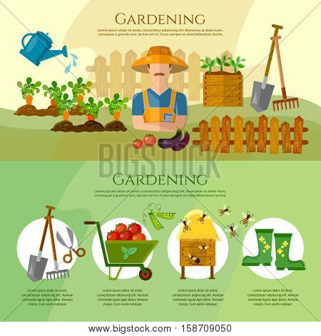Gardening growing vegetables natural food farmer products cartoon. Garden tools. Banner with summer garden landscape. Flat style vector illustration.