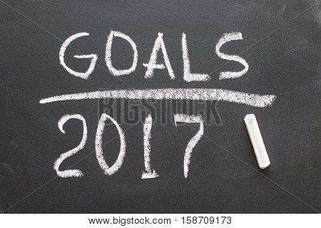 2017 Goals message written on blackboard. concept education