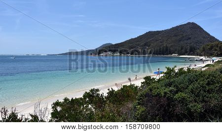 Shoal bay on a sunny day Mount Tomaree in the background (Central Coast NSW Australia)