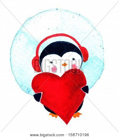 Cartoon penguin for babies and little kids. Cartoon penguin character. Greeting card cute cartoon Penguin with heart. Watercolor illustration isolated on white background