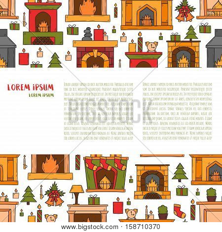 Vector Cartoon Hand Drawn Fireplaces Background