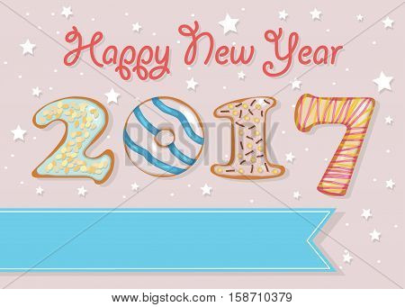 Happy New Year 2017. Colorful donuts font. Celebration pink background with confetti stars. Greeting card. Blue banner for custom text. Years specific. illustration.