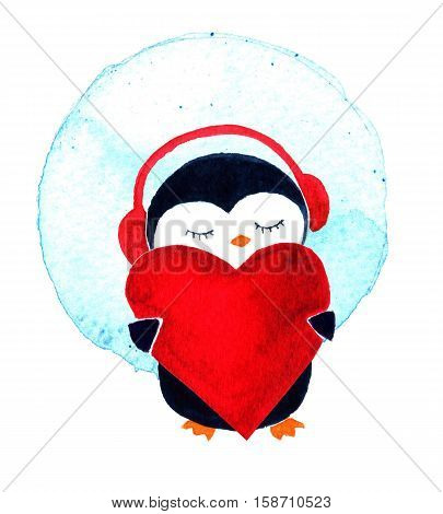 Cartoon penguin for babies and little kids. Cartoon penguin character. Penguin with heart and headphones. Watercolor illustration isolated on white background