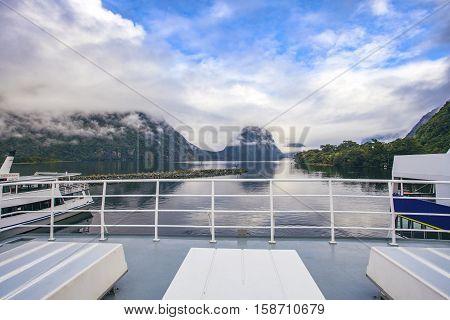 pier of milfordsound cruise fiordland national park new zealand
