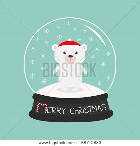 Arctic polar baby bear cub in red santa hat. Cute cartoon character. Crystal ball with snow. Merry Christmas card Candy cane text. Flat design Blue background. Vector illustration