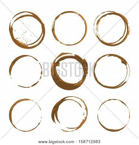 Coffee stains. Traces coffee splashes set. Vector