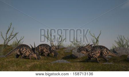 3d illustration of the walking and grazing einiosaurus
