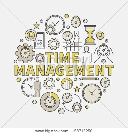 Time management round illustration. Vector colorful circular symbol made with words TIME MANAGEMENT and business icons