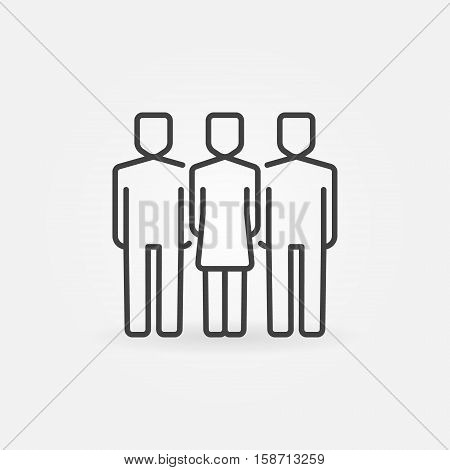 Woman with two men icon. Vector outline business team concept symbol. Friends linear sign