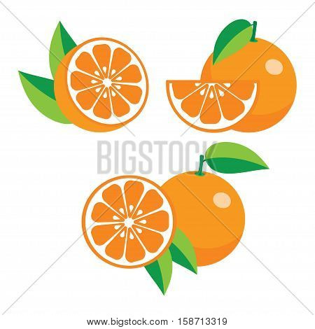 collection of different oranges whole half slice set of fresh ripe oranges with leaves