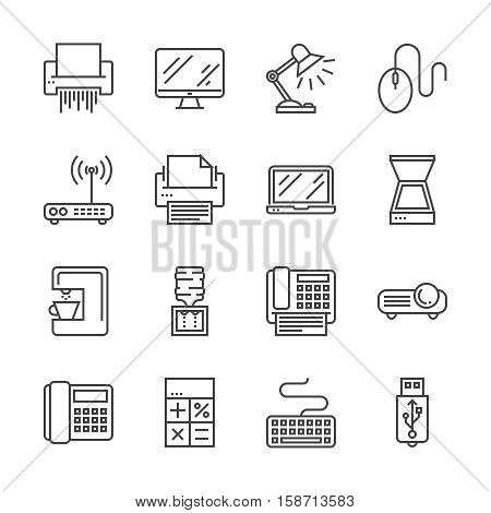 Office Devices Thin Line Related Icons Set Isolated on White Background. Simple Mono Linear Pictogram Pack Stroke Vector Logo Concept for Web Graphics. Editable Stroke. 48x48 Pixel Perfect.