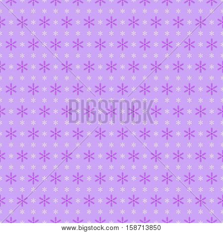 Retro Seamless lilac Winter Background with Snowflakes