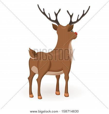 Reindeer Christmas vector illustration. Stand deer with red nose. Cartoon reindeer hold back and profile. Xmas holiday icons