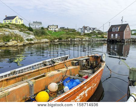 Lobster and fishing village with boats and bouys