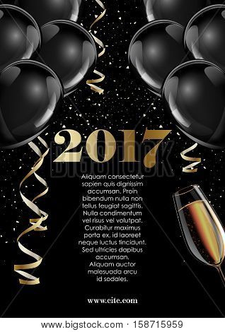 Happy new year 2017 fancy gold champagne and black hot air baloons. Ideal for greeting card or elegant holiday party invitation.