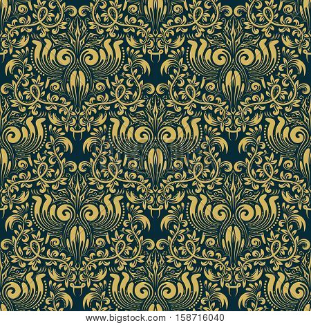 Damask seamless pattern repeating background. Golden blue floral ornament in baroque style. Antique golden repeatable wallpaper.