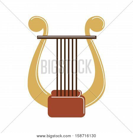 Isolated harp on white background. Musical instrument. Element of orchestra.