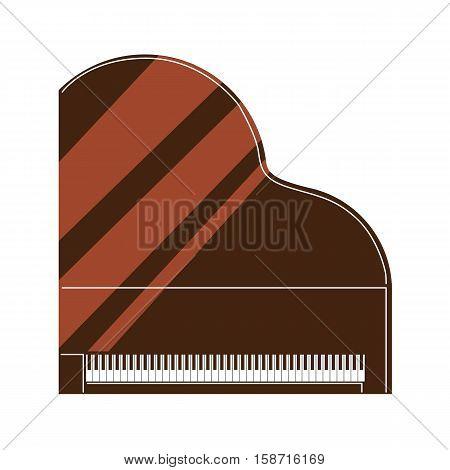 Isolated piano on white background. Musical instrument. Element of orchestra.