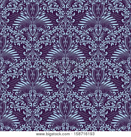 Damask seamless pattern repeating background. Purple blue floral ornament in baroque style. Antique repeatable wallpaper