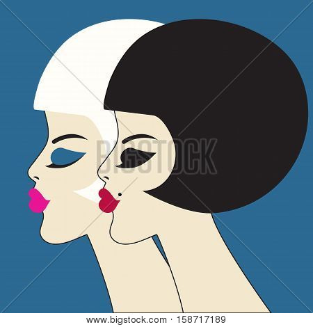 Vector beauty. Two graceful women's profiles. Bob haircut makeup. Beautiful faces of girls in retro styleul