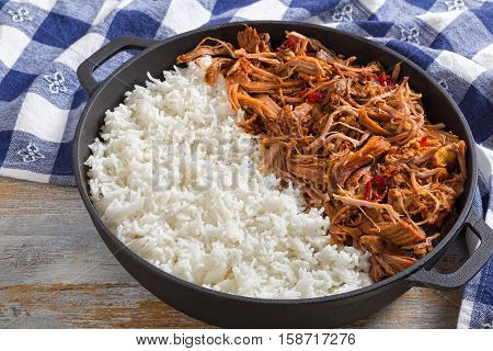 Pulled  Pork With Long-grain Basmati Rice In Iron Stewpot