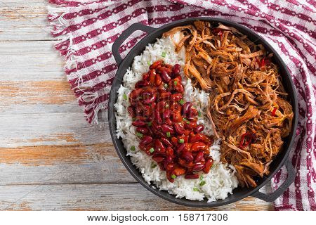 Pulled Slow-cooked  Meat With Rice And Savory Baked Beans