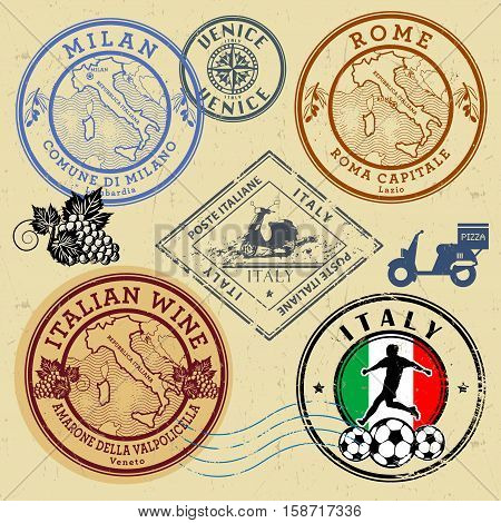 Travel stamps or symbols set Italy theme vector illustration