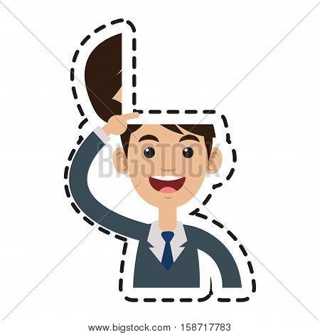 Businessman cartoon icon. Big idea creativity genius and imagination theme. Isolated design. Vector illustration