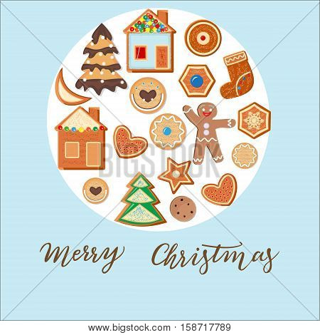Christmas card ball consisting of a gingerbread man Christmas tree cookies house baublemoon star heart. Christmas gingerbread dessert poster design