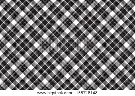 Black diagonal check fabric seamless background. Vector illustration.