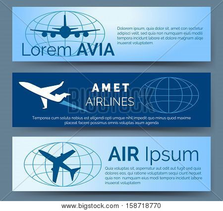 Airlines company headers set. Blue banners with aircrafts vector illustration