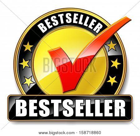 Illustration of bestseller icon on white background