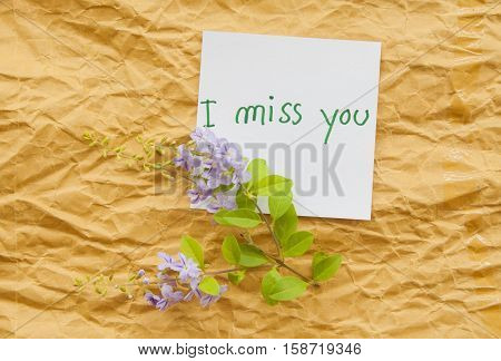 i miss you card and little purple flowers on background white