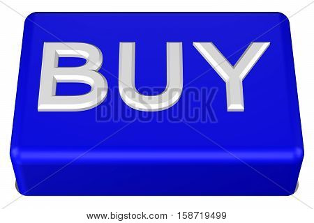 Concept: Button with word Buy isolated on white background. 3D rendering.