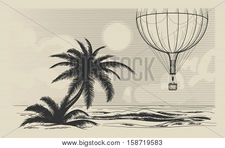 Hot air balloon flying over the sea shore. Traveling or air journey vector illustration in retro engraving style