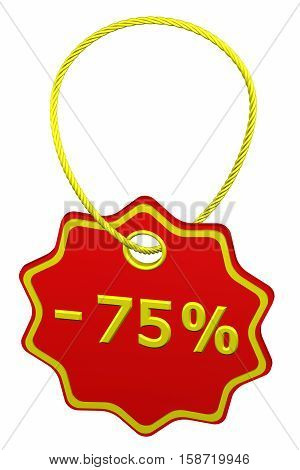 Discount - 75 % tag isolated on white background. 3D rendering.