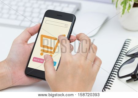Close-up woman hand using phone shopping online new modern lifestyle easy to shopping by phone