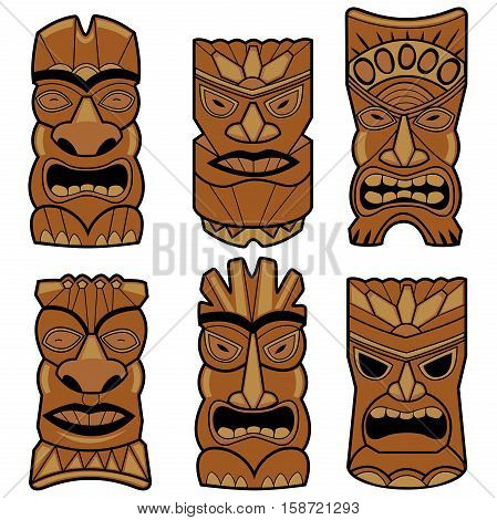Vector illustration set of cartoon carved Hawaiian tiki god statue masks.