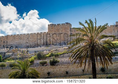 View of the Golden Gate or Gate of Mercy on the east-side of the Temple Mount of the Old City of Jerusalem Israel