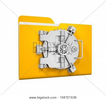 Yellow Folder Vault isolated on white background. 3D render