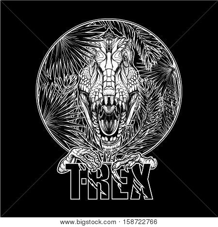 Detailed sketch style drawing of the roaring tirannosaurus rex head on a decoratve bunch of tropical leaves and flowers. Black and white sketch isolated on white background. EPS10 vector illustration.