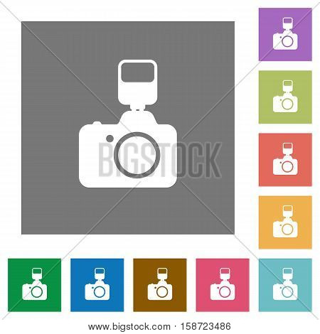 Camera with flash flat icons on simple color square background.