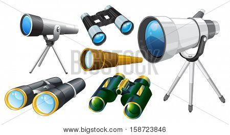 Different designs of telescopes illustration