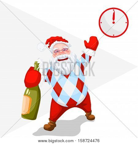 Time to celebrate - Gift Time - New Year came - Christmas Santa with a bottle of champagne - Trendy Santa Claus