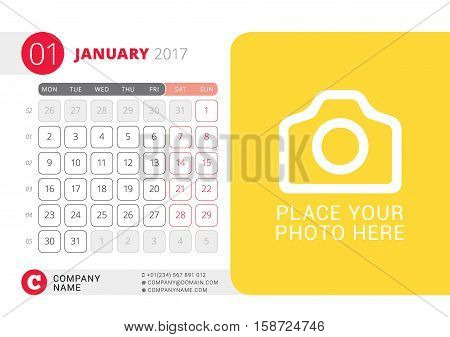 Desk Calendar For 2017 Year. January. Vector Design Print Template With Place For Photo. Week Starts
